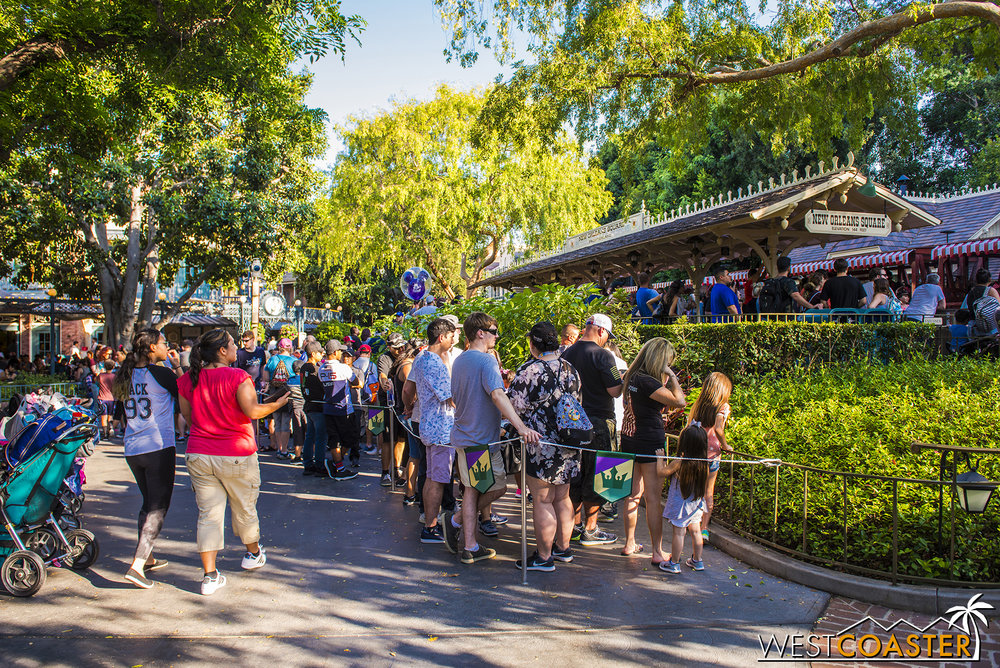 New Orleans Square is worse, with the line spilling out to the walkway and waits in excess of 45 minutes, because less people disembark here.