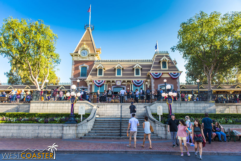 Guests who want to board the Disneyland Railroad on Main Street should expect lengthy waits.  On Saturday, the queue was at least 30-45 minutes long here.  And remember, during the summer, because of Annual Passholder blockouts, Saturdays are generally quieter than Fridays and Sundays!