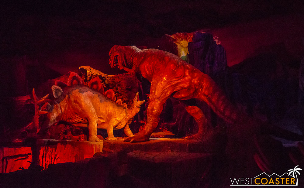 The climactic battle between a Stegosaurus and Tyrannosaur marks the end of Primeval World and the end of the round circle trip before the Disneyland Railroad pulls back into the station!