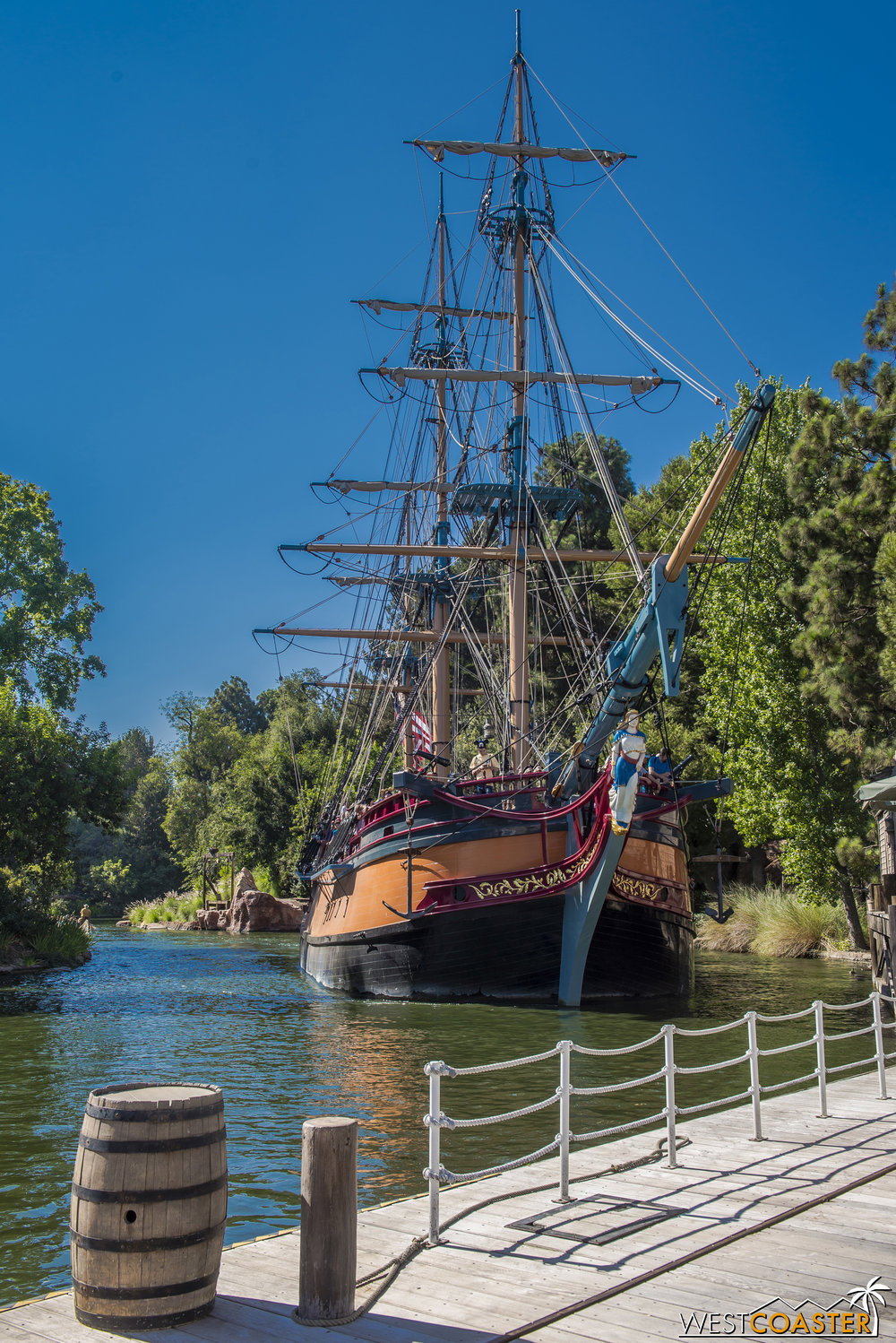 It starts operation later and ends sooner than the Mark Twain, but it's sailing around Tom Sawyer Island!
