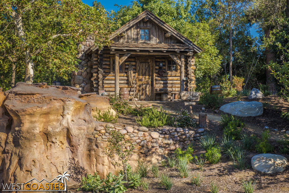 "On the Tom Sawyer side of things, the old ""burning cabin"" is now Mike Fink's little retreat.  A nice nod to the old keelboats that once sailed the Rivers of America."