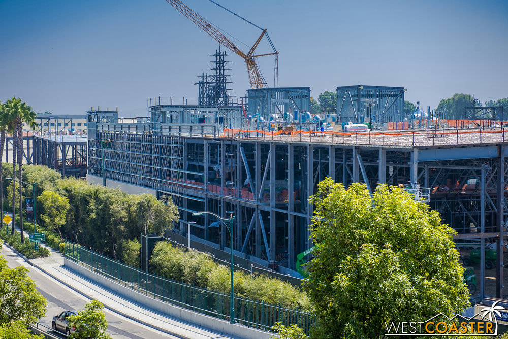 On the Disneyland Drive side of the First Order building, wall panels are starting to go up, beginning the process of enclosing the building.