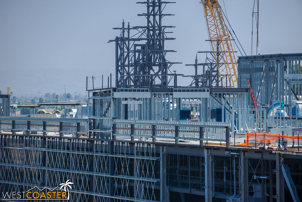 Framing is progressing at the rooftop penthouses.