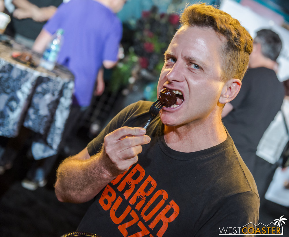 "Last but not least, Horror Buzz's Norm reminds you that there's no greater joy than stuffing a sweet, juicy, flavorful [boysenberry] meatball right into your mouth.   Absolutely delicious.  (Oh, and speaking of Horror Buzz, they're offering a really cool ""  Passport to Fear  "" promotion that will give purchasers a ""golden ticket"" of sorts to special Horror Buzz events at several of Southern California's best haunts, such as Knott's Scary Farm but also Fright Fest, Dark Harbor, and even Winchester Mystery House.  These events include behind the scenes tours, special access and early guest previews, and food and bevvies.  It's a pretty cool deal, and I'd definitely recommend it for any haunted attraction fan!)"