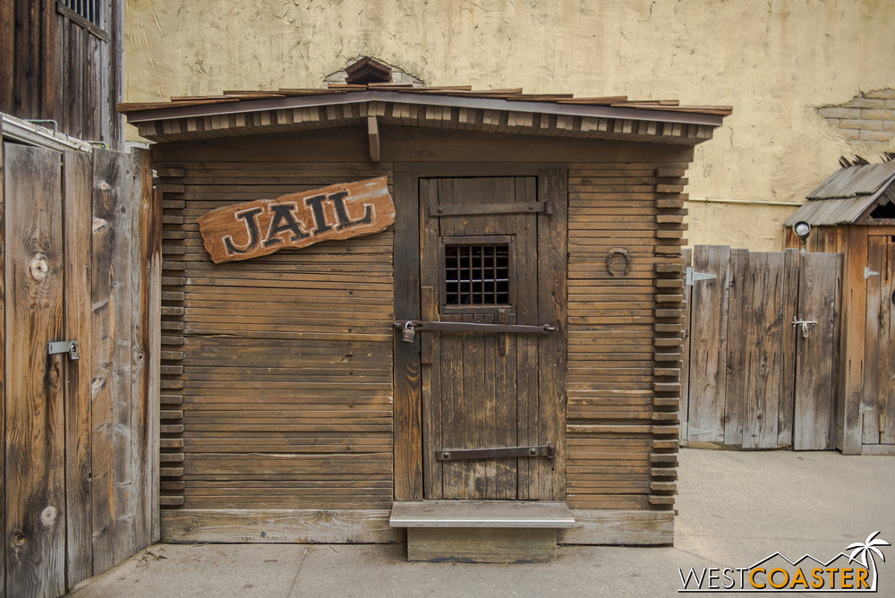 The Calico Jail is located behind Goldie's Place.