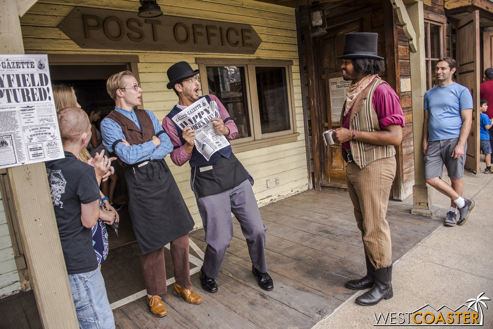 Dr. Dillard Marsh surprises Calico Gazette editor, Bixby Knolls (owner of incredible facial expressions) and his telegraphist with an unexpected appearance.