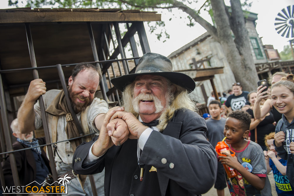 That's the Sheriff's way of having fun at Tiny's expense.  Prisoners rights weren't a thing back in the 1800s!