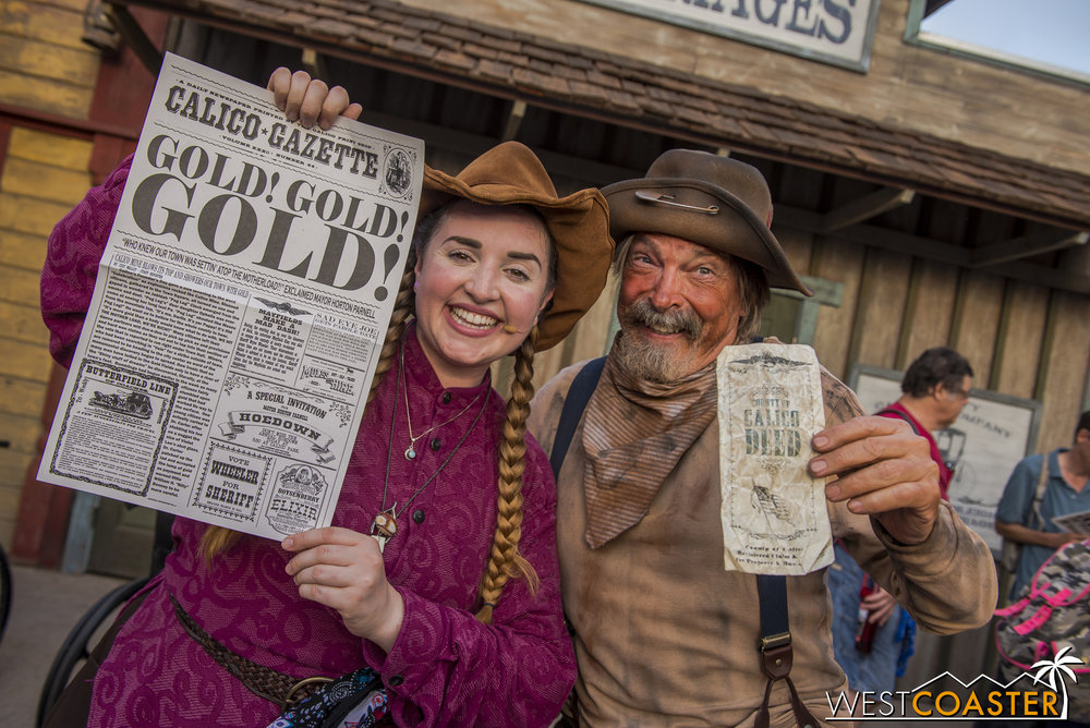 Father and daughter are reunited, as a new edition of the Calico Gazette proclaims the amazing news.