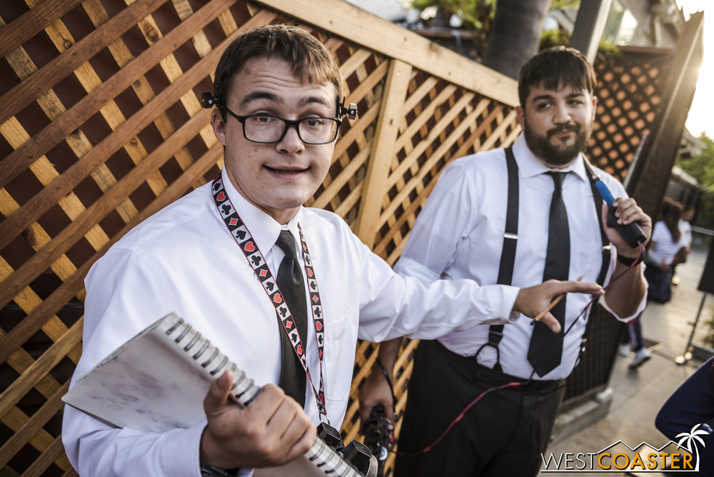 Give Tucker and Specs the password (tweeted by John Murdy's   @HorrorNights   Twitter account before each evening) while waiting in line for the Insidious maze and receive a souvenir (while supplies last).