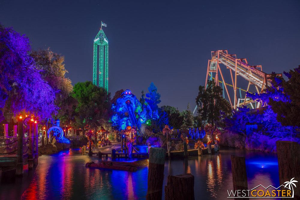 The Log Ride is gorgeous at night, in front of Supreme Scream and Silver Bullet.