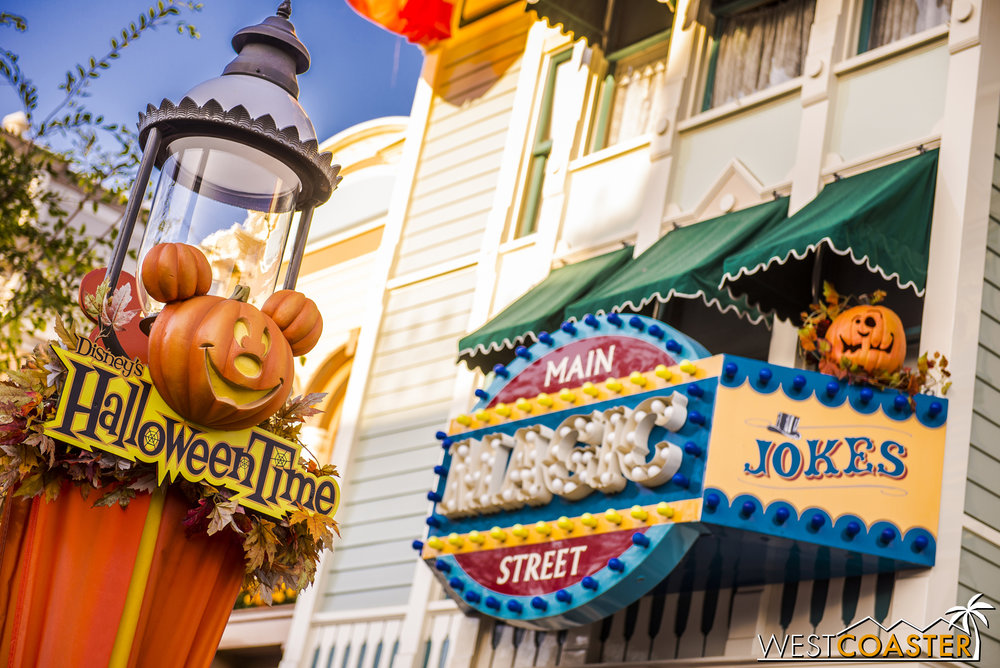 These are the same decorations Disney trots out for Main Street every Halloween season, but they're charming and cute.