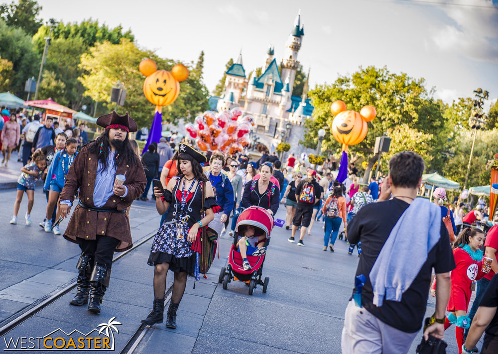 Tuesdays and Fridays are the typical Mickey's Halloween Party days, and if you visit Disneyland Park on those afternoons, you'll likely see people taking advantage of already dressed up for the night's festivities and taking advantage of MHP early entry