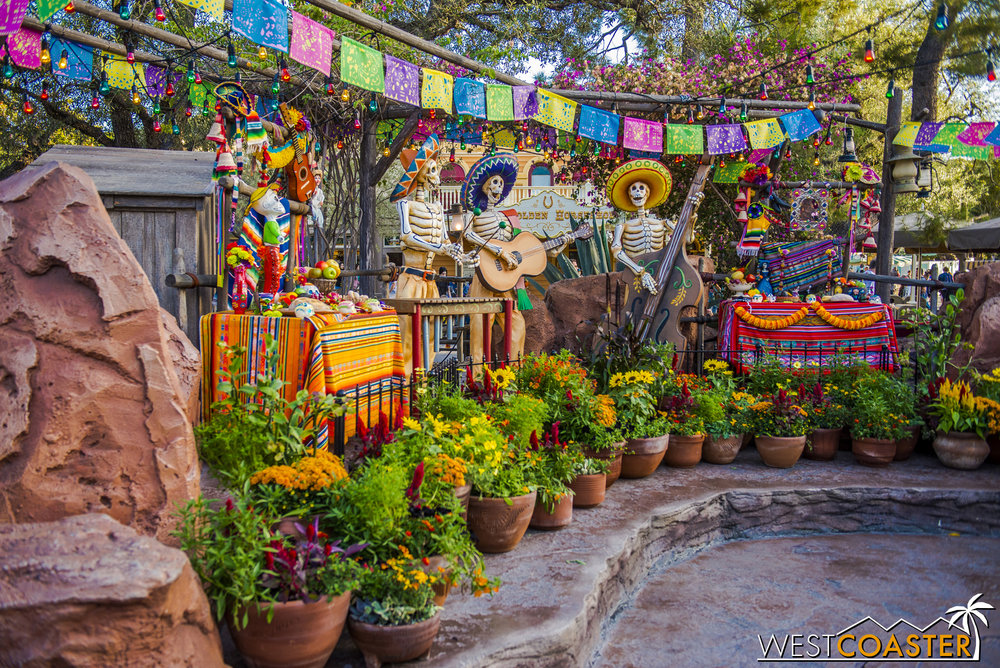 The traditional Día de los Muertos display is back up over at Zocalo Park, next to Big Thunder Mountain Railroad.