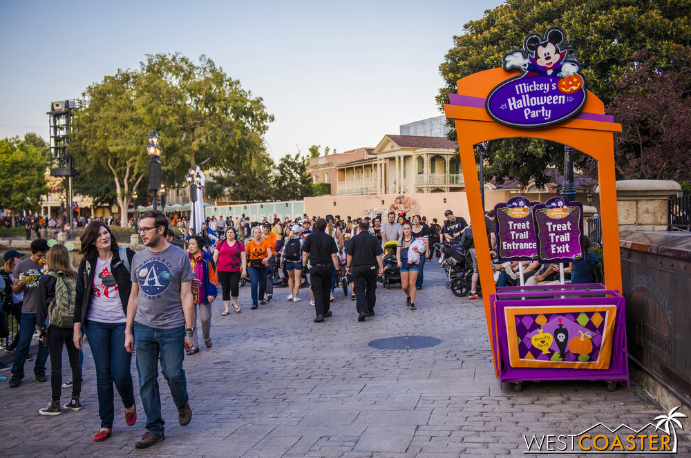 One of many trick-or-treating zones.