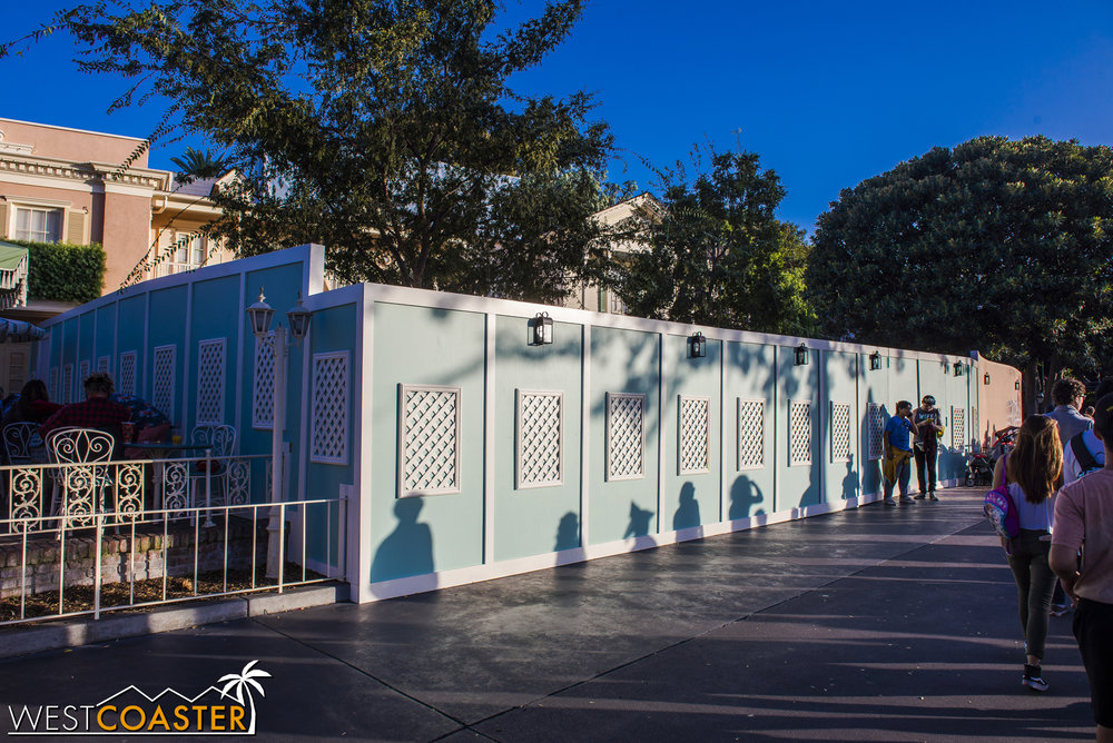 Work walls are up around the River Belle.