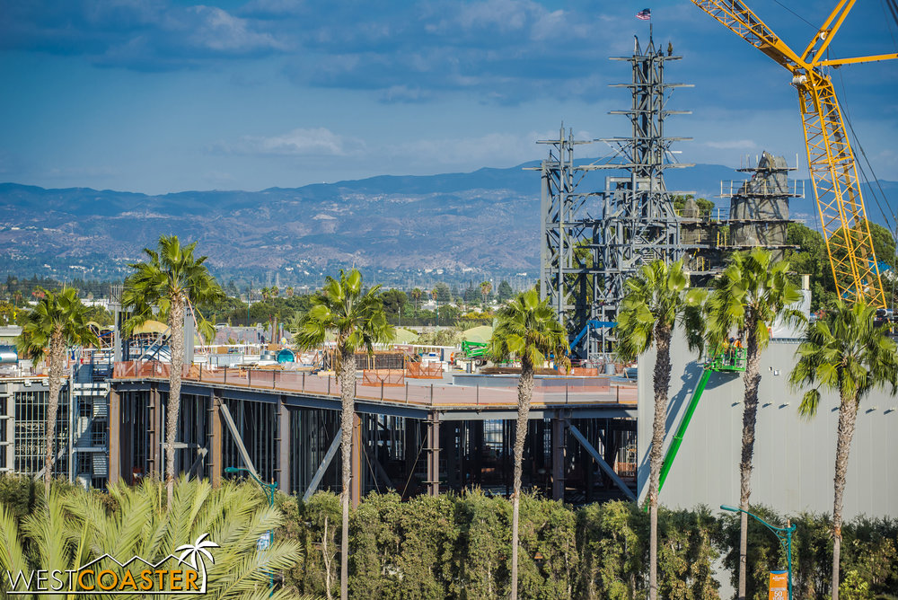 The Millennium Falcon building has been humming along too.  It's much harder to see it, since the angle is oblique, but just the density of what's inside shows they've been putting up walls and steel.