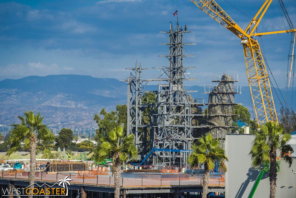 They've also started plastering the mountains that will form the towering backdrop of Galaxy's Edge.