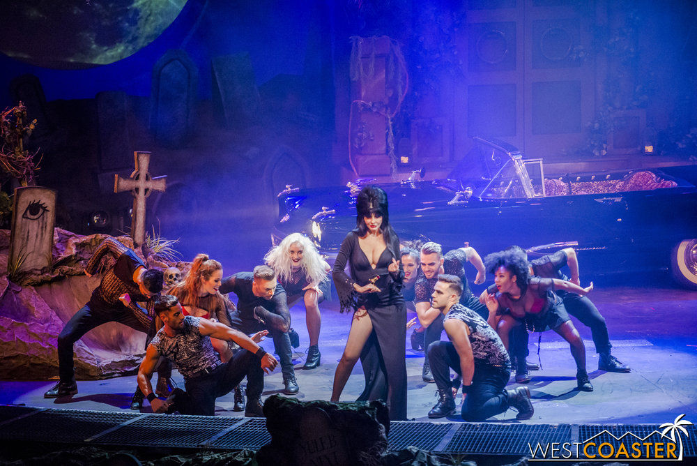 As usual, Elvira's show is a spectacular, music- and dancer-filled affair.