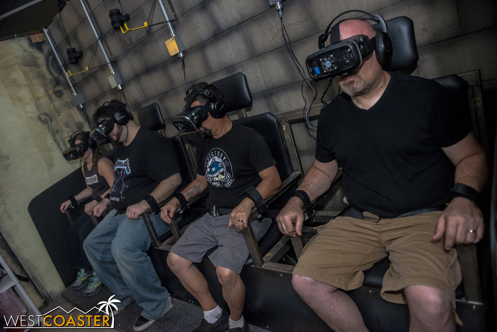 "The VR experience puts guests in the position of a new patient being checked into Perpetuum Penitentiary.  Guests are in ""wheelchairs"" throughout the experience."