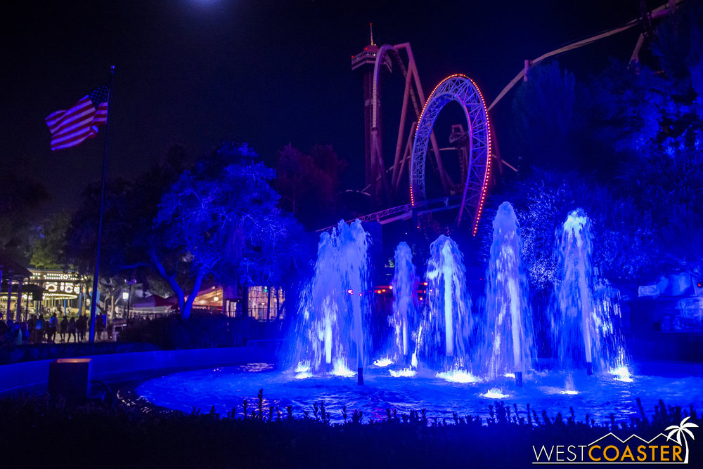 The fountains look pretty fantastic here at night.