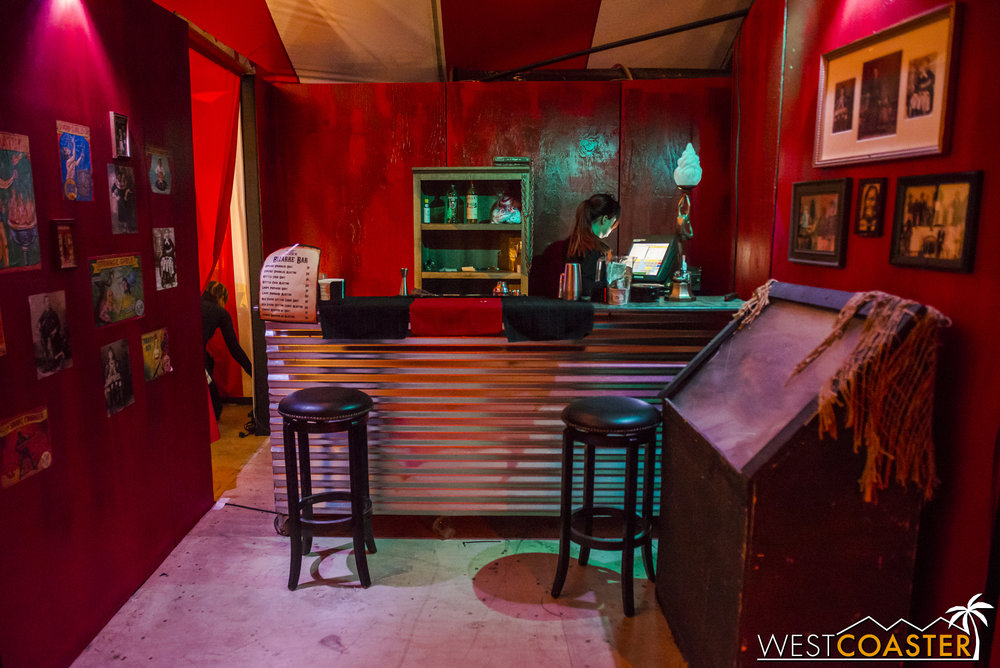 There's also a hidden bar that seems to incorporate a lot of elements from the upcharge Sideshow from previous years.