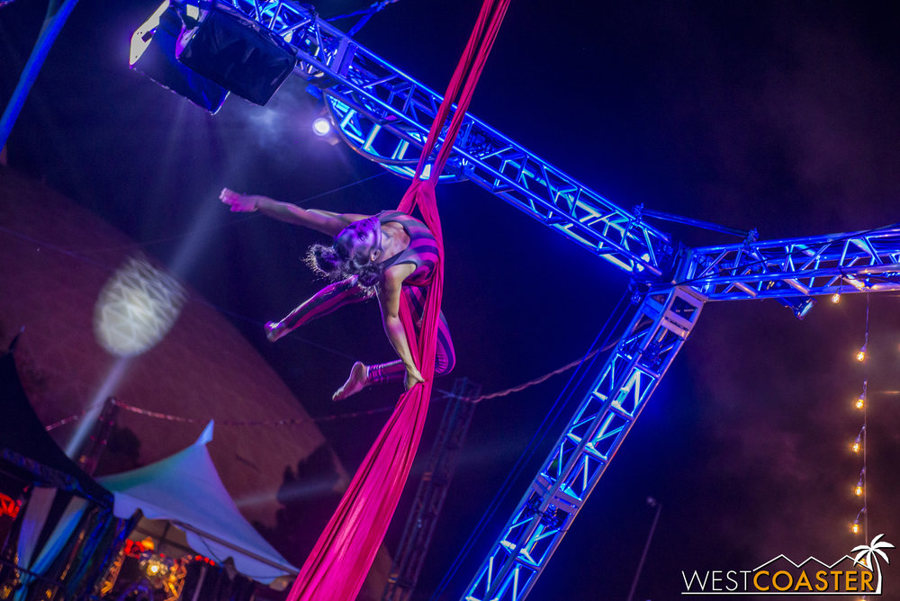 Another aerialist, on the silks.