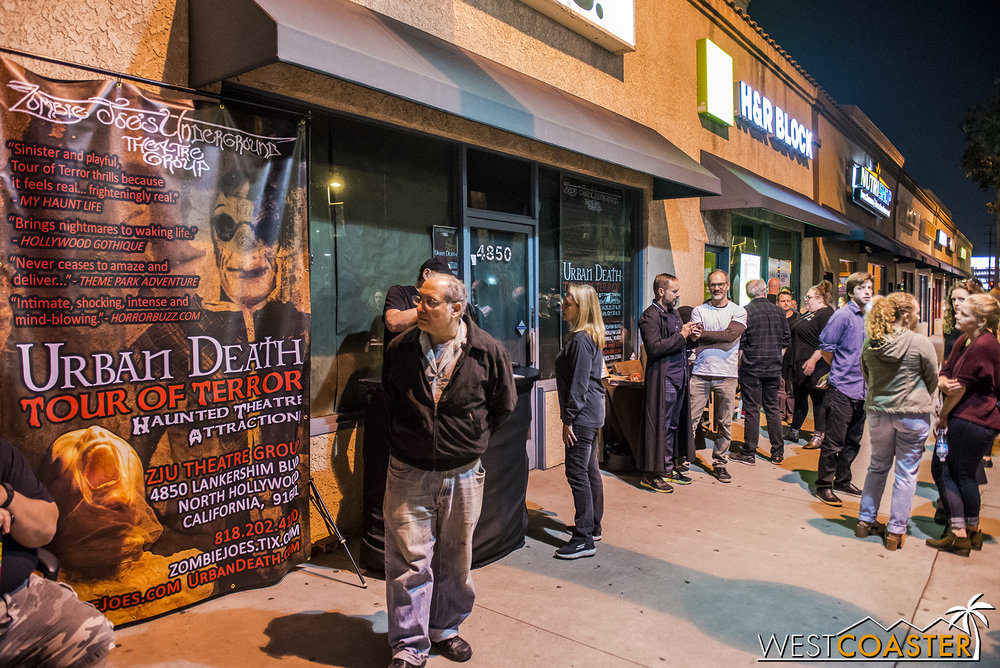 Guests wait outside Zombie Joe's.  The Tour of Terror show has gained a very popular cult following, so purchasing online in advance is highly recommended!