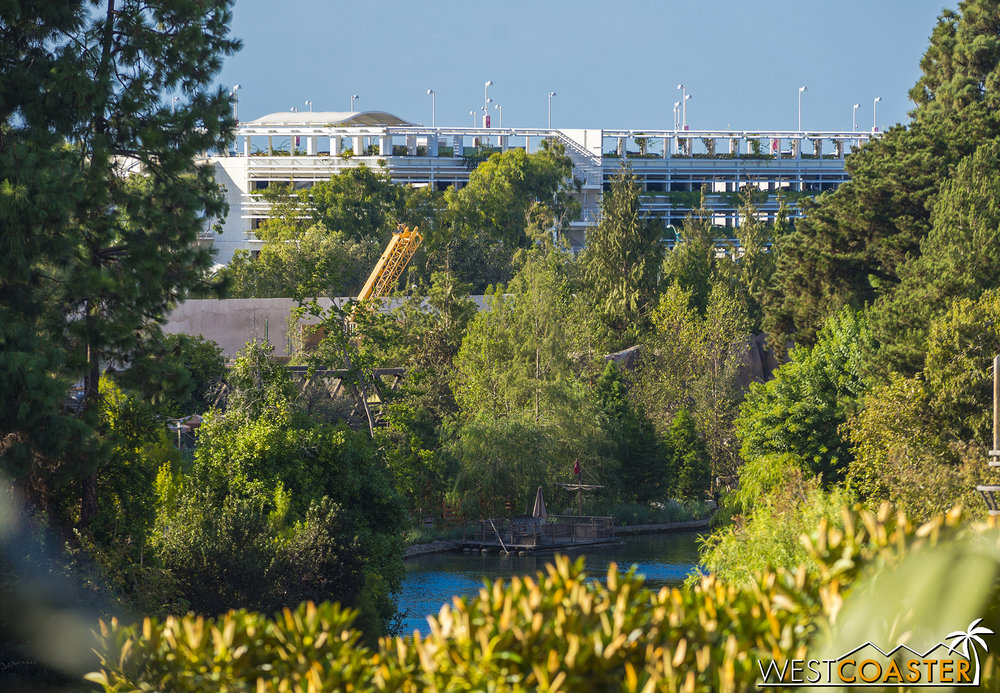 "Bits of ""Star Wars"" Land can be seen over the Rivers of America berm--but only from Tarzan's Treehouse."