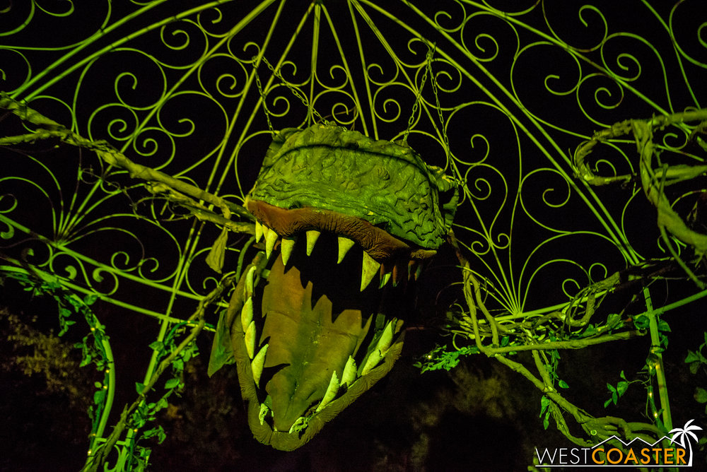 Aubrey II represents one of the more spooky elements on this ride that's effectively friendly to the children.