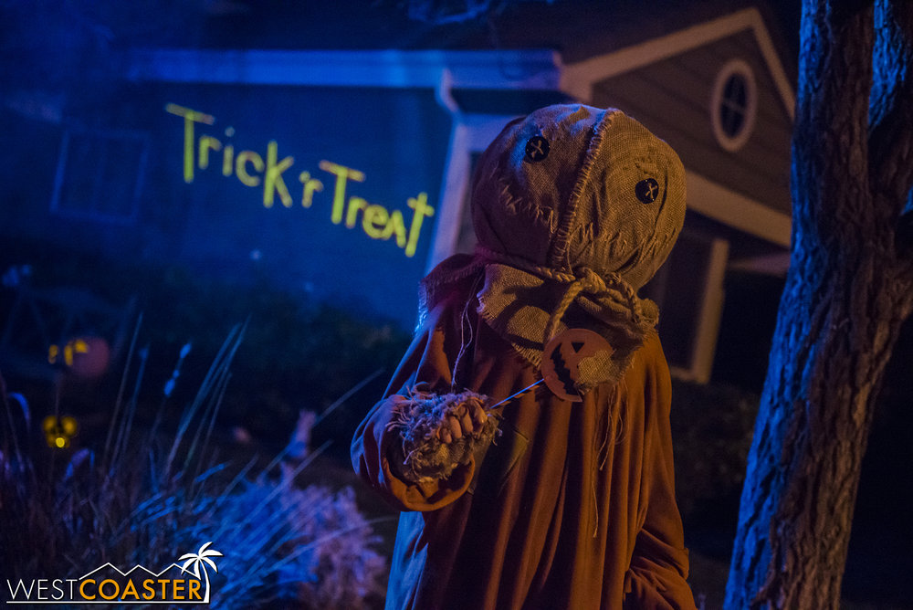 Sam greets arriving visitors at the Trick 'R Treat home haunt.