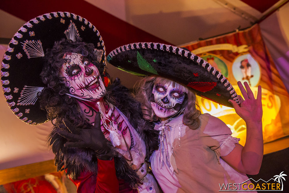 She, Scary Mary, and much of the rest of the Dark Harbor monsters had some fantastic Día de los Muertos makeup!