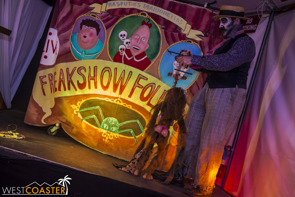 Located on the other side of the secret bar in Circus, a marionette show entertained those on hand to witness.