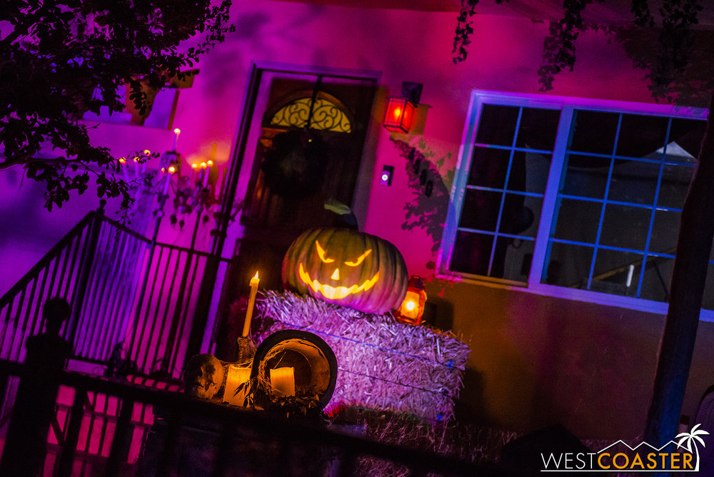 A jack-o-lantern with a Haunted Mansion Ghost Host flair narrates the sad tale of the House at Haunted Hill in alluring rhyme.