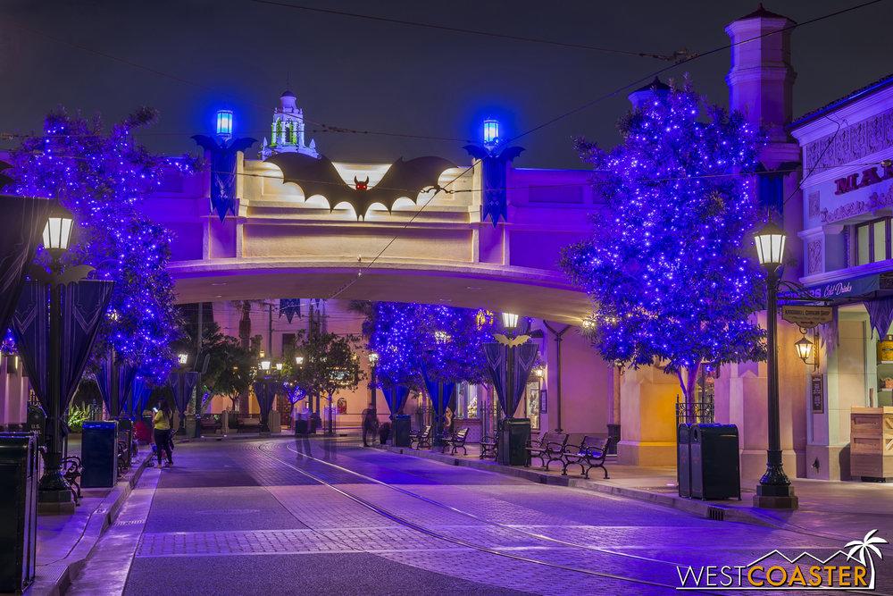 Nighttime at Halloween Buena Vista Street was cast in a deep purple hue.