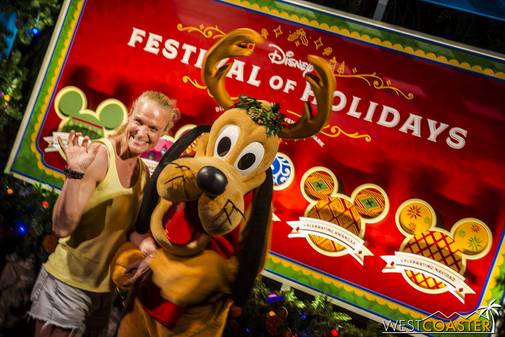 Guests can take pictures with their favorite Disney characters, dressed in holiday garb.