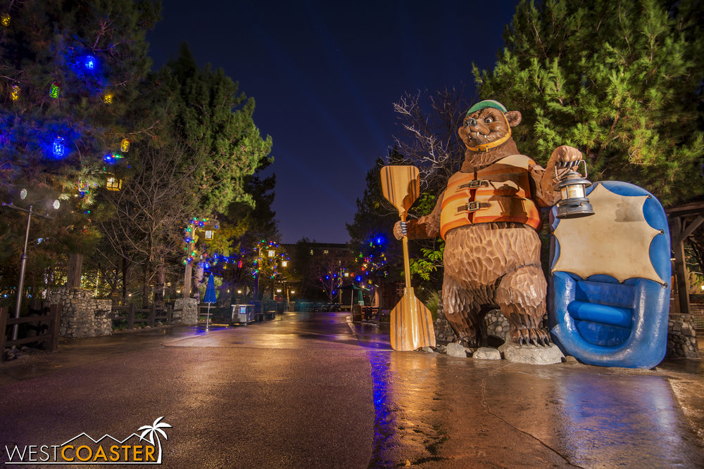 I don't have a photo of it, but the Grizzly River Run bear has a light up ugly Christmas sweater that's kind of epic.