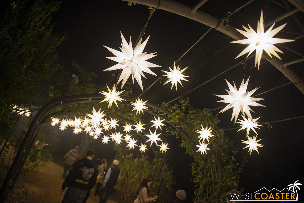Hanging star-shaped lamps provide a celestial feel to the Rose Garden.