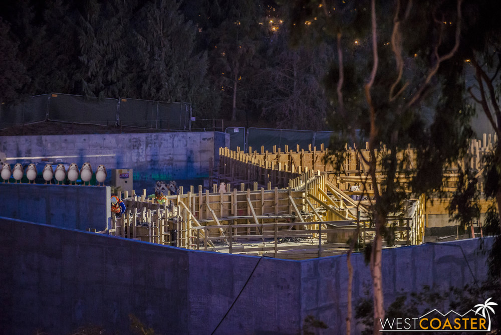 Some more formwork for additional buildings has also gone up, continuing the structure toward Critter Country slowly but surely.
