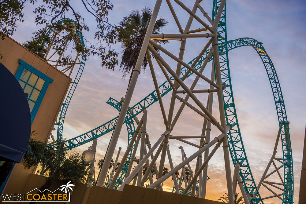 Just beyond it, you can see part of the boomerang/cobra roll (depending on what you want to all it) element that marks the last two inversions of the ride.