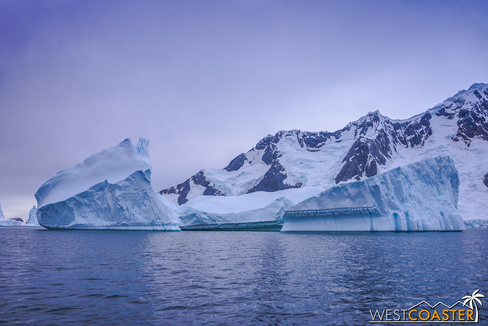 An iceberg gallery sets a moody ambiance in Pléneau Bay.