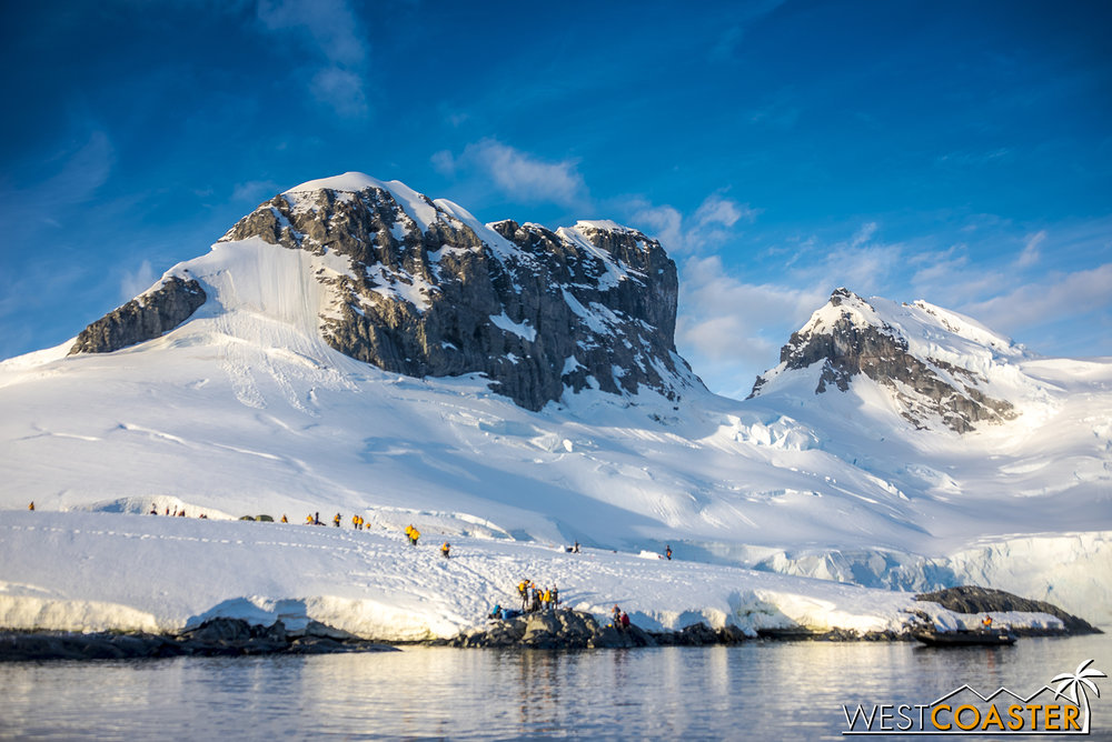 The Antarctic landscape is resplendent and magnificent.