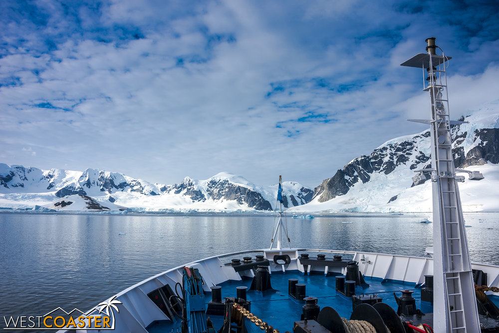 The view from the bow of our Antarctic cruise ship, the  Ocean Diamond .