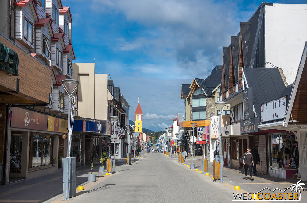 Early morning down Ushuaia's main drag, Avenida San Martín.