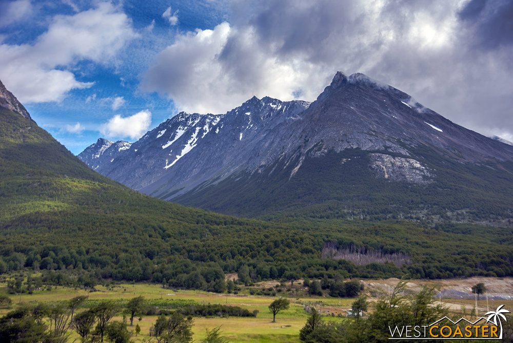 The view driving into Tierra del Fuego National Park.