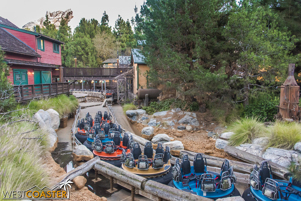 The ride has been drained, and the rapids rafts look kind of ridiculously tossed together.