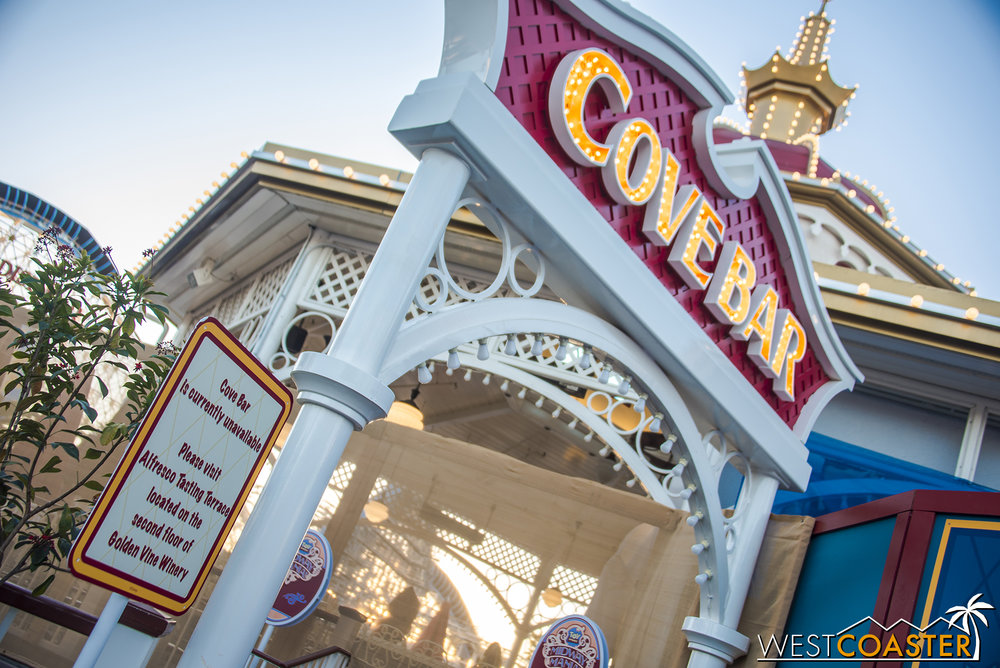 "Teleporting back to the ""main"" entry into the future Pixar Pier area, here's Cove Bar again.  Fear not, to any Disney Drinkers who are worried it is gone forever.  It is due to reopen briefly in April, then close for a permanent rebrand.  But it will return as an alcoholic establishment--just probably under a different name."