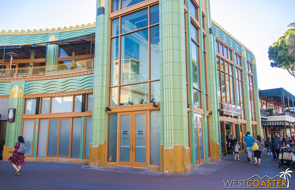 Across the way and next to the WonderGround Gallery, D-Street has given way to a future Disney Home store.