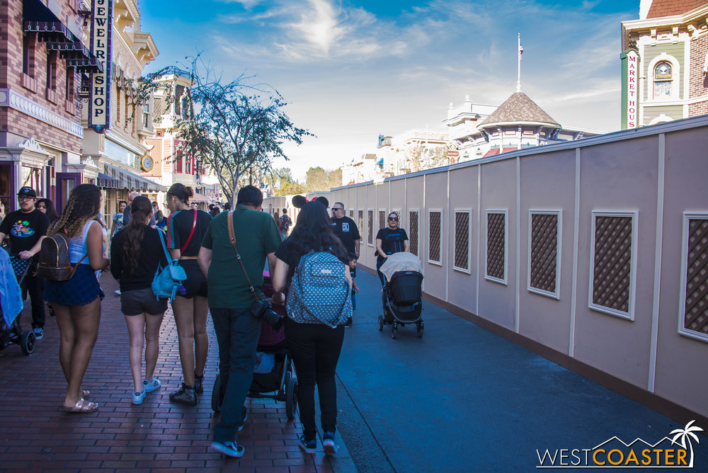 The work walls now run completely up Main Street.
