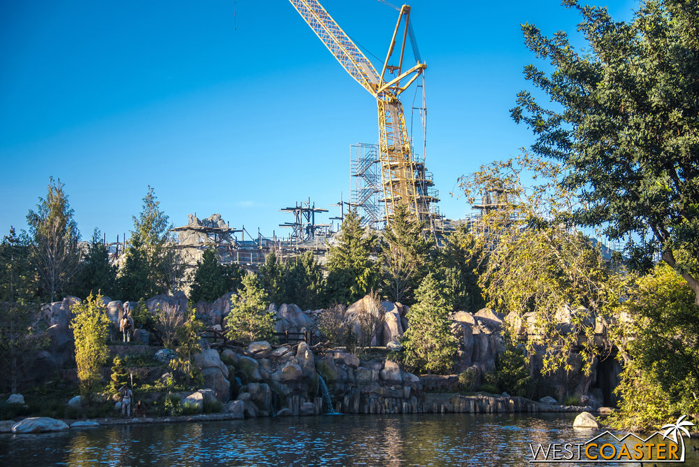 Around the riverbend of the Rivers of America, Batuu is definitely taking noticeable shape.