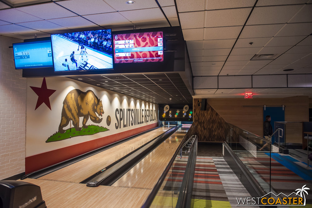Here is one of the three separate set of bowling lanes. This is at the back of the premises.